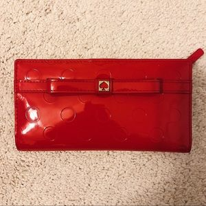 Kate Spade Red Polka Dot Stacy Wallet With Bow